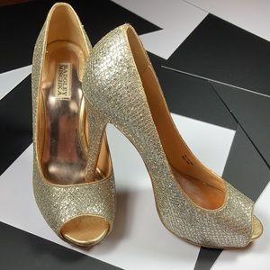 Badgley Mischka Gold Tone Glitter Peep Toe Heels